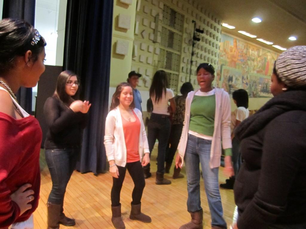 Students at Fashion High School.